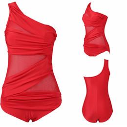Populares trajes de baño de una pieza online-Europa y América estilo traje de baño Big Code Damas Trajes de baño de una pieza de gasa oblicua Popular Bikini Set Factory Direct 26 5ypI1