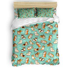 Grüne bettdecken online-Jolly Corgis In Green Bettbezug-Set Hund Bettwäsche Tröster Abdeckung Kissen- Twin Voll Königin King Size 4pcs Bettwäsche-Sets