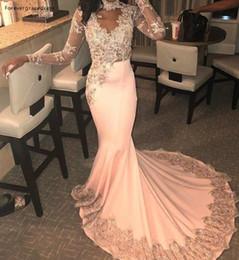 Cor de pêssego vestido de baile on-line-Sereia Peach Cor Prom Vestidos Africano Meninas Negras Mangas Compridas Pageant Feriados Graduação Desgaste Formal Evening Vestidos de Festa
