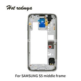 Samsung galaxy s5 pièces en Ligne-10pcs Logement moyen pour Samsung Galaxy S5 G900V G900V G900W G900F cadre moyen retour lunette réparation pièces de rechange