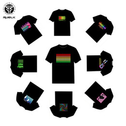 2021 hombres calientes v camiseta Ruelk Hot Sale Led T-shirt Men Party Rock Disco Dj Sound Activated Led T Shirt Light Up and Down Flashing Equalizer Camiseta de hombre Y19072001 hombres calientes v camiseta baratos