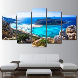 Pinturas de la lona para la sala de estar Modular HD Imprime imágenes 5 Unidades Azul Mar Playa Isla Paisaje Marino Posters Home Wall Art Decor desde fabricantes