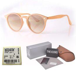 Vintage metall rundrahmen gläser online-New Arrial Sonnenbrille Damen Herren Round Plank Frame Metall Scharnier Glaslinse Retro Vintage Sonnenbrille Goggle mit Box und Fällen