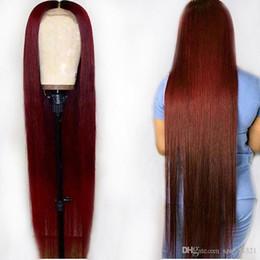 Farbige spitzenperücken online-Ombre 1B 99J Burgunder Rot 13 * 6 Spitzefront Menschliches Haar Perücken 360 Frontal Preplucked Gerade Brasilianisches Remy Für Schwarze Frau