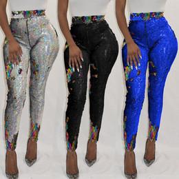 leggings meilleure couleur Promotion 2019 nouveaux pantalons pour femmes discothèque sexy couleur bleue pantalon paillettes meilleure vente leggings pailletés CY8029