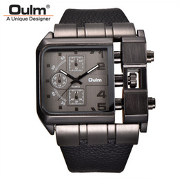 square men white watch Promo Codes - Oulm Brand Square Dial Big Size Watches Men Top Brand Luxury Sport Male Quartz Watch Wide PU Leather Wristwatch erkek kol saati