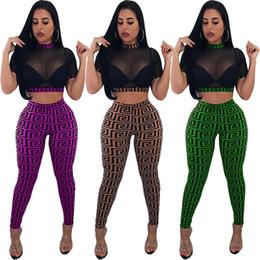 mädchen tragen tragetaschen Rabatt Frauen Gaze Crop Top Leggings Outfits Durchsichtig Mesh Kurze Pullover + Dünne Hosen 2 Stück Set Trendy Club Anzug Sexy Girls Club Wear C53001