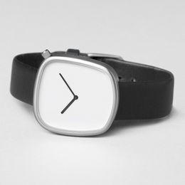 Orologio al quarzo minimalista da uomo e donna con orologio a ciottoli neutri da