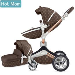 Ruedas de cochecito online-Hotmom cochecito de bebé 2019 2in1 Cuero ecológico Absorción en las cuatro ruedas Rusia Envío gratis