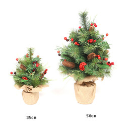 needle plant Promo Codes - Simulation plant Christmas tree table set mini potted pine needles PVC pine fruit red fruit decoration small tree Decoration