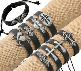 Tibetische reize kreuzen online-Charms Armbänder Schön Schmuck Tibetisches Kreuz Charms Legierung Schwarz Echtes Leder Armbänder Männer Frauen Kreuz Leder Armband Armreifen