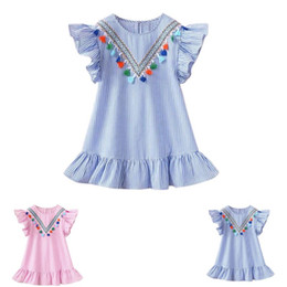 top boats Promo Codes - 2019 Summer Girls Tassel Flying Sleeve Dresses Stripe Cute Kids Party Dresses for Kids girls Princess Dress Tops Clothes C22