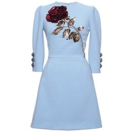 Robe de soirée gaine bleue Sequines Appliques Cristaux Robe courte Manche longue Yousef aljasmi Robe longue Gaine ? partir de fabricateur