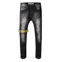 Marca jeans online-Pantalones vaqueros para hombre pantalones vaqueros de diseño Para hombre de mezclilla recto Biker Skinny Jeans Pantalones Casual Vaquero Famosa marca con cremallera Diseñador Venta caliente