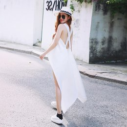 Camicia sleeveless senza schienale online-Camicia Sexy Irregolare Backless Donna Camicetta Asimmetrica Senza Maniche A Righe Top Donna Elegante Estate 2019 Moda