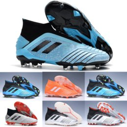 Piastra blu online-2019 Hot Gold Argento Predator 19+ FG AG TF PP Paul Pogba Mens scarpe da calcio Sky Blue Placcatura fondo 19.1 High Ankle Soccer Cleats Scarpe