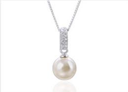 2019 kupferfeder charme großhandel Neue Designer-Frauen-Halsketten arbeiten Bling Bling Diamant-Perlen-Halskette für silberne Kristallperlen-hängende Halskette des Geschenk-925 um