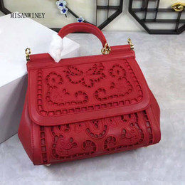 hollowed out bags Promo Codes - New Sicilian Sicily lady bag with one shoulder and slant across fashionable leisure hand-held leather hollow embroidery lady bag