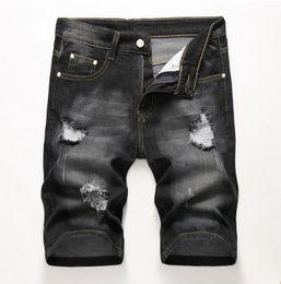 calças homens tamanho barato Desconto Homens baratos Designer Slim Rasgado Preto Denim Shorts Afligido Jeans Curtos Branqueada Retro Denim Shorts Tamanho Grande 42 Calças JB3