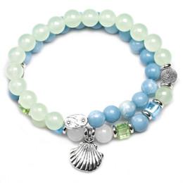 2019 blaue steine kristalle Traubenstein mit blauen Himmel Stein Perlen Armband für Frauen Weiß Chalcedon Kristall Strang mehrschichtige Armreif handgemachten Schmuck rabatt blaue steine kristalle