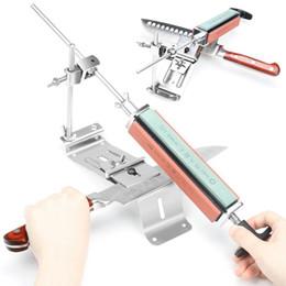 cuchillos de hierro Rebajas Nuevo hierro de cocina de acero afilador profesional cuchillo de cocina sacapuntas herramientas de corrección de ángulo con 4 piedras piedra de afilar
