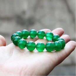 2019 jóia chinesa do verde de jade Belas Jóias Chinês Verde Natural Calcedônia Rodada Jade Beads Elastic Pulseira jóia chinesa do verde de jade barato