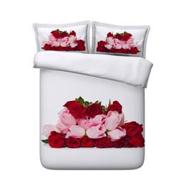Deutschland Rote Rose Floral Bettbezug Set Love Heart Tagesdecke Tagesdecke Mädchen geometrische Tröster Cover rosa Blume botanische Bett Set Galaxy Bettwäsche cheap 3d red rose bedding sets Versorgung