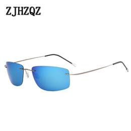 9dbfe7f23f4 Rimless Polarized Sunglasses Men Ultralight 2019 Hot Ultra Light Screwless  Frameless Square Sun Glasses for Women Titanium 8.5G
