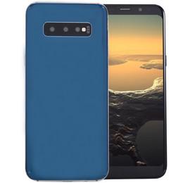 Double caméra arrière en Ligne-Pas cher Goophone S10 + V2 Clone 3G WCDMA Quad Core MTK6580 1GB 4GB Android 9.0 6.4 Pouce Courbé Plein Écran Cadre en Métal HD Verre Arrière Retour