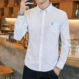b241e618013 mens designer dress shirts New Pure Color Men Business Casual dress shirt  Male Long Sleeve Shirts