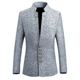 Vestiti di stile vintage online-Giacca da uomo vintage giacca 2018 2018 stile cinese Business casual uomo giacca giacca giacca collo slim uomo 5xl