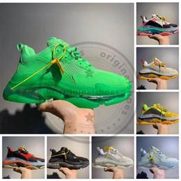 Scarpa casuale mens zip online-Con zip cravatta gialla Parigi Triple-S 17FW parte inferiore di cristallo della piattaforma Sneakers Triple S Vintage delle donne degli uomini degli addestratori Casual Shoes papà nonno