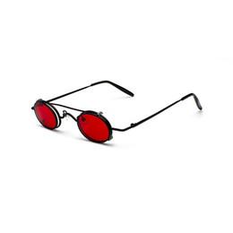 Lunettes de soleil amovibles en Ligne-Hommes Double Bridge Lunettes de soleil John Lennon Amovible Retro Vintage Fashion Womens Petites lunettes de soleil rondes en métal Steampunk Rouge Lens MX190723