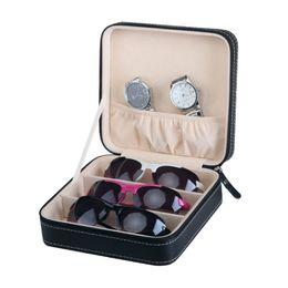 Портативный искусственная кожа солнцезащитные очки коробка для путешествий организатор ювелирных изделий суб-сетка маленькие очки чехол шкатулка молния сумка контейнер подарочная коробка cheap gift box grid от Поставщики сетка подарочной коробки