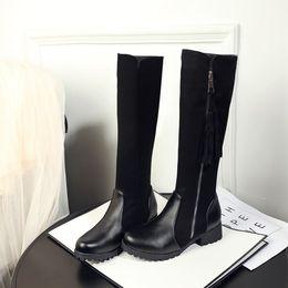 2019 bottes hauteur 13 Big Size 9 10 11-13 cuissardes genou bottes sur le genou femmes dames Couture de tissu à glissière gland promotion bottes hauteur 13