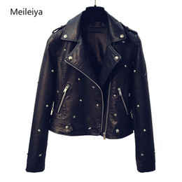 2019 primavera outono novo estilo coreano moda bonito estrela rebite preto lavagem pu casaco curto jaqueta de couro mulheres de