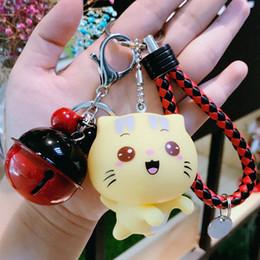 Llaveros amante del gato online-Lindo gato de dibujos animados llaveros amantes del estilo coreano de cuero tejido de la cuerda llavero chica señora bolsa colgante llaveros del coche