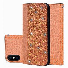 Crocodilo iphone on-line-Para iphone 11 pro max luxo brilhante padrão de crocodilo para iphone 6 7 8 plus fecho magnético flip xs max estojo de couro