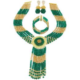 cuentas de la boda de nigeria verde Rebajas Teal Green Army Green Champagne Oro AB Granos de Cristal Conjuntos de Collar Africano Conjuntos de Joyería de Boda Nigeriana para Mujeres 6CXLS03