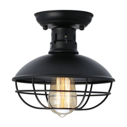 Gaiola de Metal Industrial Luz de Teto Rústico Mini Semi Flush Montado Pingente de Iluminação Gaiola Do Teto Da Lâmpada Fixture para o Quarto Do Armazém Da Cozinha de