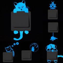 Fluoreszenzschalter online-Kreative schalter leuchtende aufkleber lustige tiere dekor niedlichen cartoon fluoreszierende wandaufkleber abnehmbare aufkleber neue beliebt