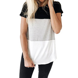 hemden bluse blöcke Rabatt 2018 Sommer Damen Tops und Blusen Farbblock Kurzarm T-Shirts O Neck Damenbekleidung Camisa Feminina