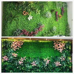 Tapetes de grama falsificados on-line-Eco Artificial Planta Artificial Relvado Artificial Artificial Mat esteira de Alimentos para Animais de Estimação Tanque De Peixes de Plástico Grama Falsa Gramado Micro Paisagem
