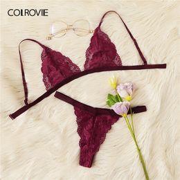 d32c714b2c1 wholesale Burgundy Floral Lace Thongs And V-Strings Sexy Intimates Women  Lingerie Set 2019 Wireless Ladies Underwear Suit Bra Set
