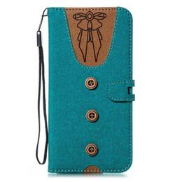 Women fabric wallets online-Camiseta de la caja de la cartera de la tela Kickstand cubierta del tirón para hombres mujeres Bowknot corbata ropa ranura de tarjeta Csae para iPhone X Samsung J3 2018 OPP bolsa