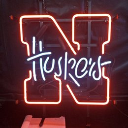 neon beer signs Promo Codes - N Huskers Beer Led Glass Tube Neon Signs Lamp Lights Hotel Advertising Display Bar Home Decoration Sign Metal Frame 17'' 20'' 24'' 30''