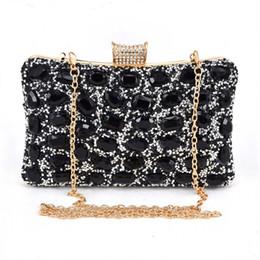 2019 bolsos baratos bolsos negros Moda Barato Shine Stone bolso de noche de la boda de la noche nupcial de plata negro embrague monedero con los bolsos de cadena Pochette mujer paquete # 258744 rebajas bolsos baratos bolsos negros