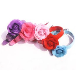 leather flowering dog collar Promo Codes - Wholesale-Cute Small Pet Dogs Cat Collar Flower PU Leather Puppy Choker Necklace XS-L