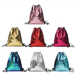 wholesale solid color backpacks Coupons - Student Mini Sequin Backpack Back To School Solid Color Sequins Sports Srawstring Beam Shoulder Bag Student Outfits Travel Bag Seven Colors
