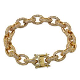 Kupfer kettenglied armbänder online-18 Karat Gold CZ Kubikzircon Hip Hop Kubanische Gliederkette Armband 12mm 7/8 zoll Miami Rock Rapper Schmuck Kupfer Armband Ketten für Männer Geschenke